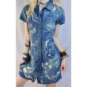 Custom Bleach Tie Dye Jean Denim Button Down Dress